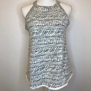W5 Sweater Tank High Neck Fringe Gray Aztec Small